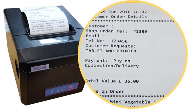 PC and Printer for online takeaway order websites in Hampshire