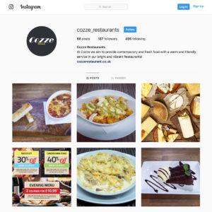 Cozze restaurant Instagram social media marketing