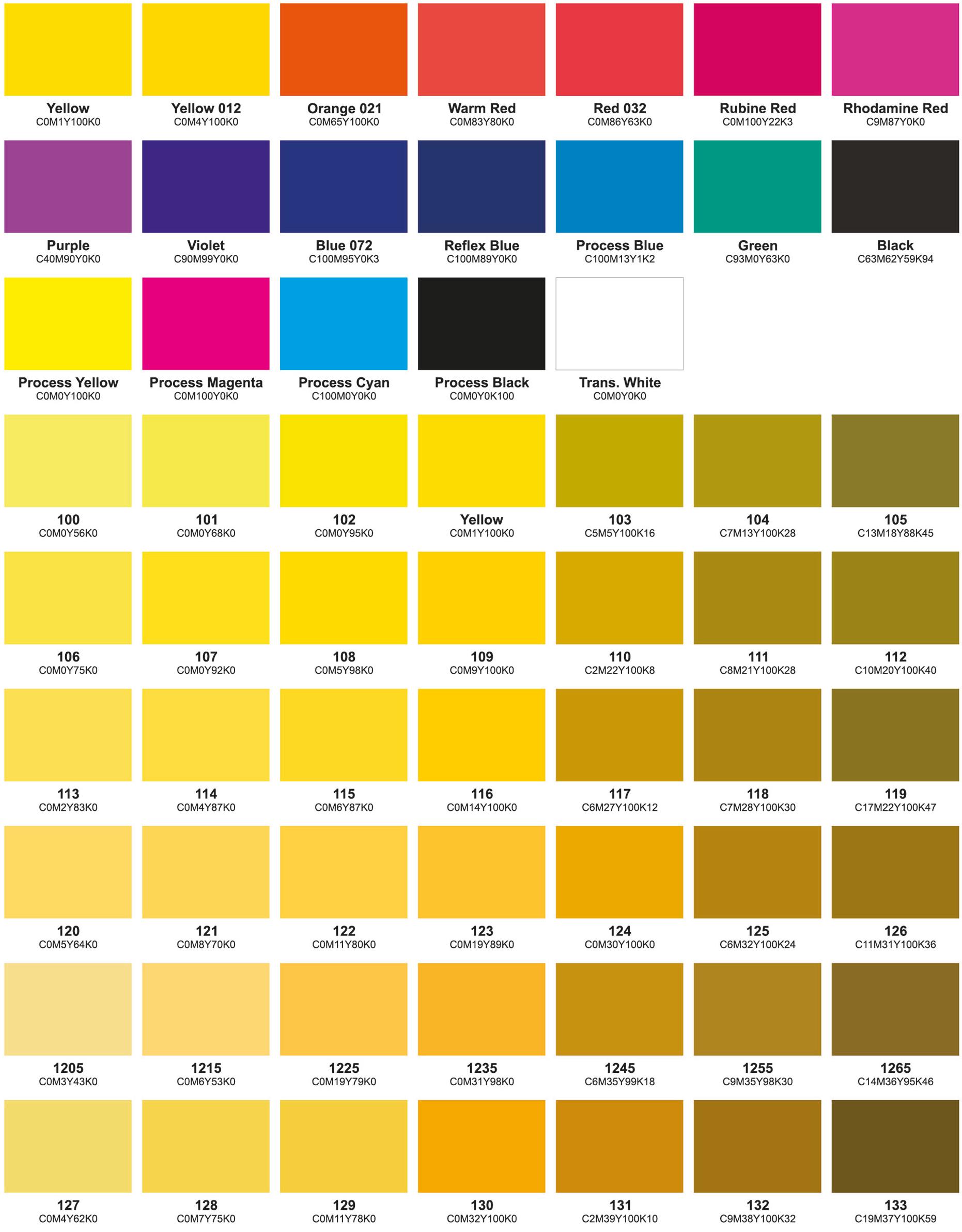 Colour chart part 1
